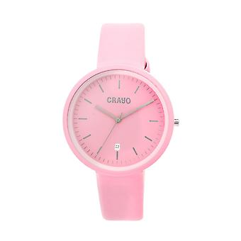 Crayo Easy Leather-Band Unisex Watch w/ Date - Pink