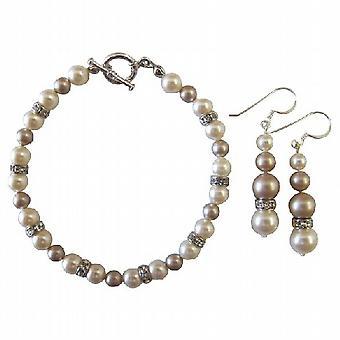 Matrimonio da sposa damigella d'onore bracciale & orecchini perle avorio & Champagne