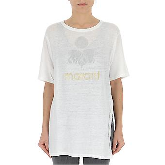 Isabel Marant 00mts038200m08e20wh Feminino's White Linho T-shirt