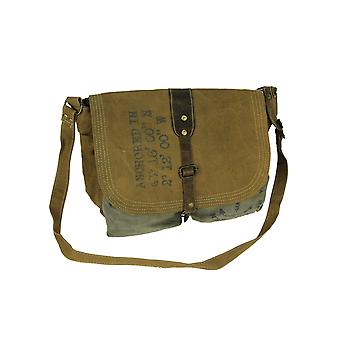 Brun lerret Leather Trim rustikke nautiske ut Messenger Bag