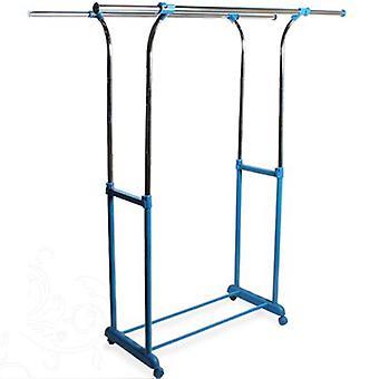 Colgar - doble armario ajustable / ropa tendida Rail de almacenamiento - plata / azul
