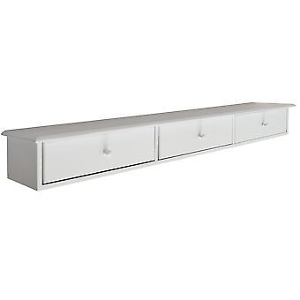 Butler - Wand montiert Holz 3 Schubladen Regal - weiß