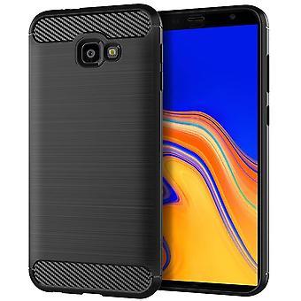 Samsung Galaxy J4+ Plus TPU Case Carbon Fiber Optics Brushed Protection Case Black