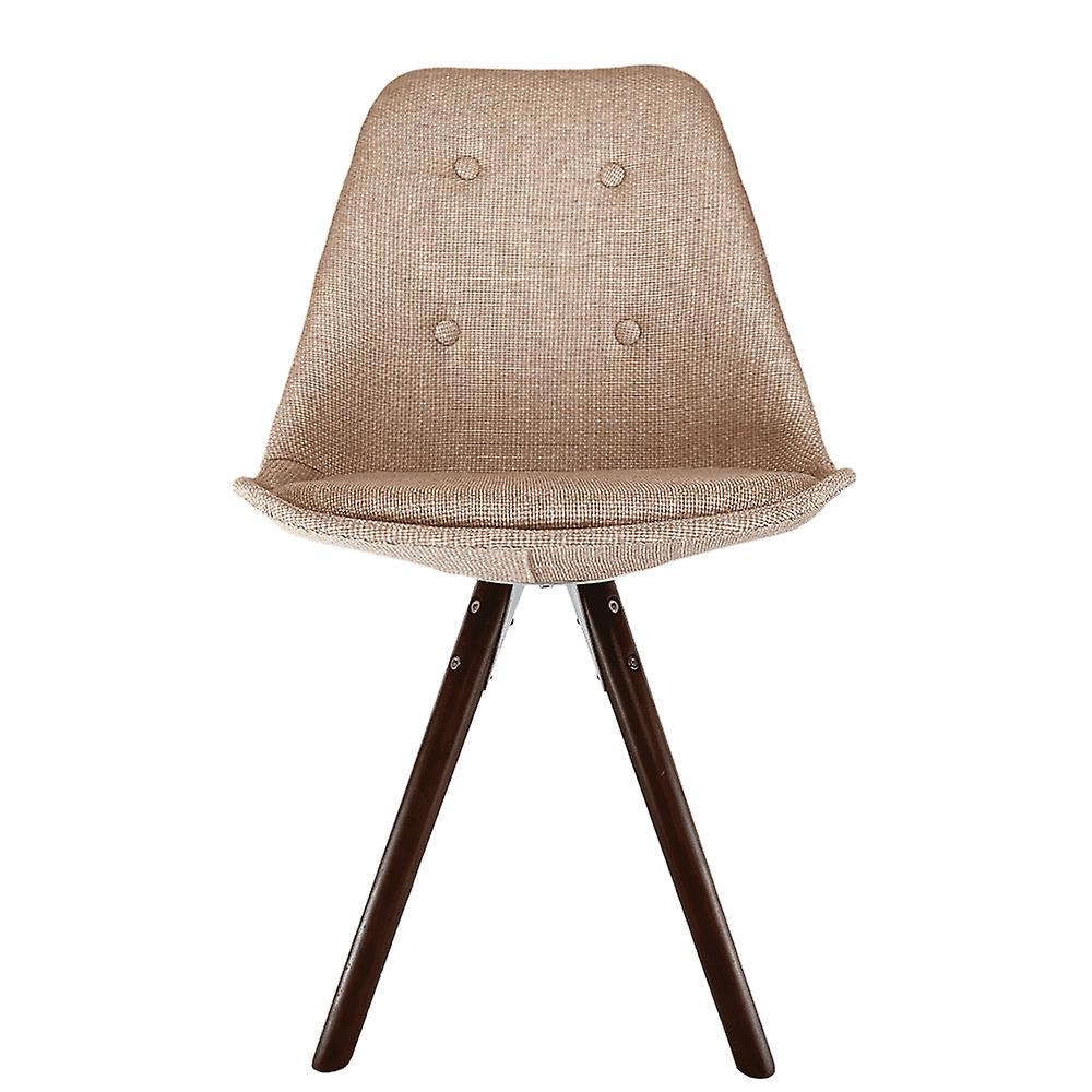 Fusion Living Eiffel Inspired Beige Fabric Dining Chair With Pyramid Dark Wood Legs