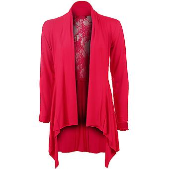 Ladies Plain Long Sleeve Mesh Lace Open Waterfall Women's Cardigan Top