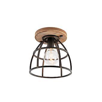 QAZQA Lampe de plafond industrielle noire avec du bois - Arthur