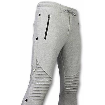 Casual sweatpants-knapper jogging bukser-grå