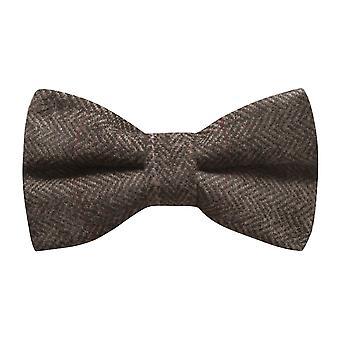 Luxus Herringbone Mokka braune Fliege, Tweed