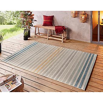 Inand and Outdoor Rug Paros Blue Gold Silver Grey