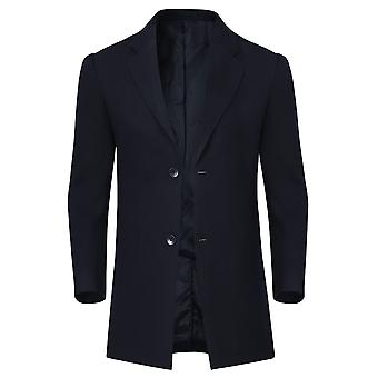 Allthemen Men's Slim Fit Single-Breasted Mid-Long Wool Blend Overcoat