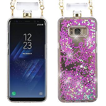 Light Purple Quicksand Glitter Diamante Perfume Bottle Protector Cover(w/ Chain) for Galaxy S8 Plus