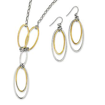 925 Sterling Silver Dangle Shepherd hook Fancy Lobster Closure and 14k Gold Plated Polished Drop Necklace And Earrings S