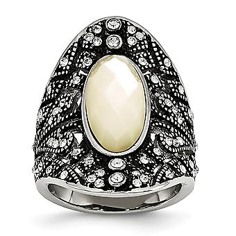 Stainless Steel Textured Polished Crystal and Simulated Mother of Pearl Ring Jewelry Gifts for Women
