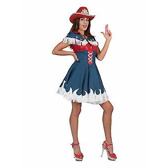 Cowgirl Jeanskleid Kostüm Damen Western Rodeo Damenkostüm Karneval Fasching Mottoparty