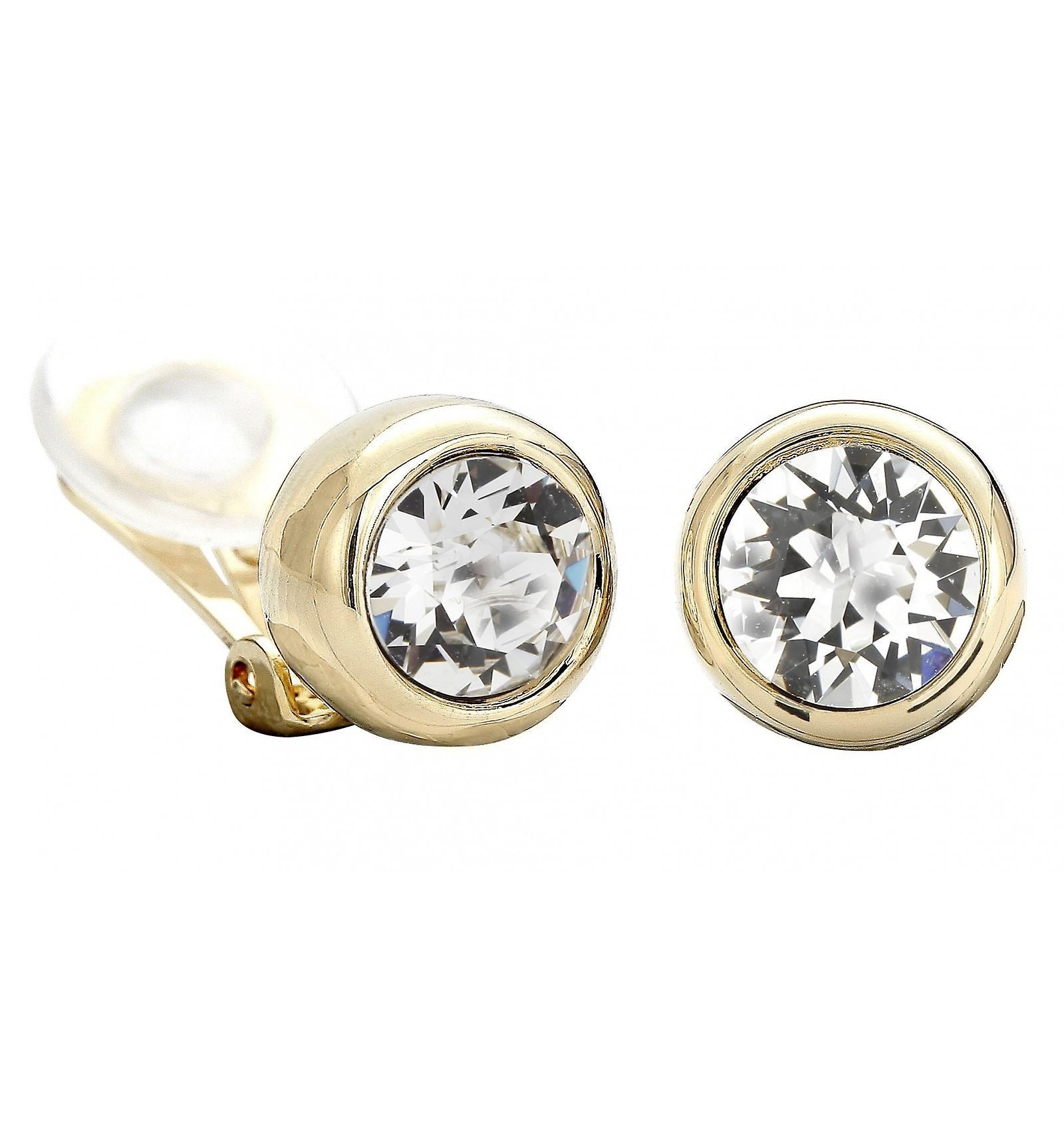 Reiziger clip Earring-22ct verguld-Swarovski kristallen-156240