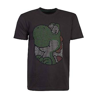 Super Mario T Shirt Yoshi Rubber Imprimé Logo nouveau officiel Mens Black