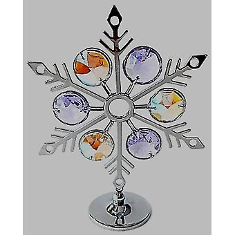 CRYSTOCRAFT Freestanding Snowflake Ornament Chrome Finish Made With Blue & Lilac Swarovski Crystals.