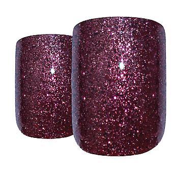 Faux ongles en gel brun rouge art de bling français squoval 24 faux medium conseils