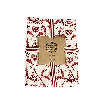 Dexam Yuletide Tea Towel, Red on Cream