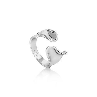 Ania Haie Sterling Silver Rhodium Plated Twist Wide Adjustable Ring R012-03H
