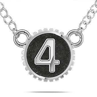 BIXLER Number '4' Fashion Pendant Necklace In Sterling Silver