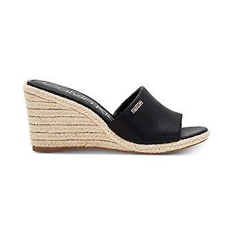 Calvin Klein Womens Britta Wedge Leather Open Toe Casual Platform Sandals