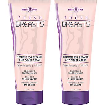 Fresh Breasts de Fresh Body 3.4oz (2 Pack) Antitranspirante Líquido Chafing Powder
