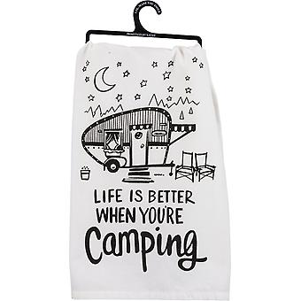 Life is Better When You're Camping Printed Kitchen Dish Towel Cotton