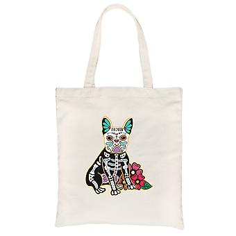 Frenchie Day Of Dead Funny Halloween Costume Cute Natural Canvas Shoulder Bag