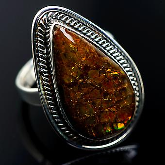 Large Ammolite Rings 7.5 (925 Sterling Silver)  - Handmade Boho Vintage Jewelry RING985283