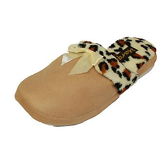 Coolers Women Microsuede Faux Leopard Fur Lined Mule Slipper
