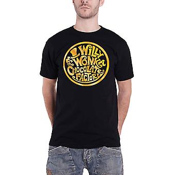 Willy Wonka & The Chocolate Factory T Shirt Golden Logo new Official Mens Black