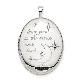 925 Sterling Silver Engravable 20mm Love To The Celestial Moon Diamond Oval Photo Locket Pendant Necklace Jewelry Gifts