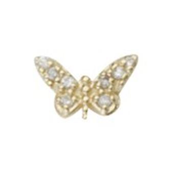 925 sterling sølv 14k gullbelagt enkelt mate CZ kubikk zirconia simulert diamant sommerfugl engel vinger stud øredobber