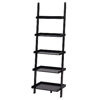 Charles Bentley alto madera 5 escalera de almacenamiento de escalera de almacenamiento pantalla estante negro 180x40x60cm