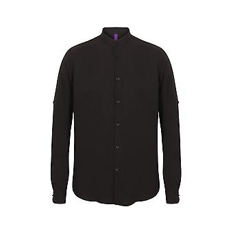 Henbury Mandarin camisa com rolo guia manga hb592