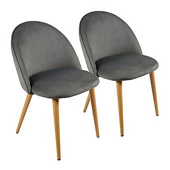 Charles Bentley Par soft velvet kök / lounge stolar matsal med Bok trä effekt Ben Grå H80xW54xD56