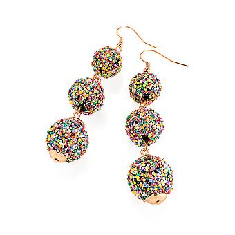 Elegant Rose Gold Colour Glitterball Effect Multi Bead Drop Earrings