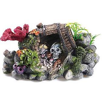 Klassiker för husdjur Treasure fat & skalle (fisk, dekoration, prydnadsföremål)