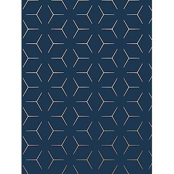 Metro Illusion Geometric Wallpaper Navy Blue and Gold WOW005
