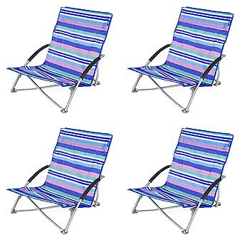 4 Yello Low Folding Beach Chairs For Camping, Fishing Or Beach -Blue Striped