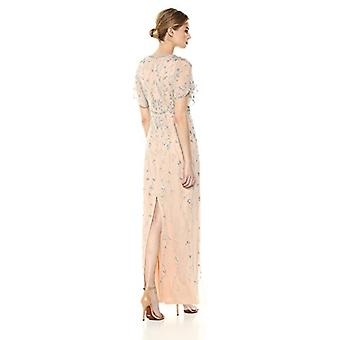 Adrianna Papell Women's Beaded Long Dress with Scalloped, Silver/Nude, Size 2.0