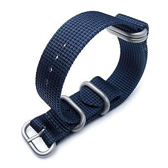 Strapcode n.a.t.o watch strap miltat 20mm, 22mm 5 rings g10 zulu water repellent 3d nylon, navy blue, brushed