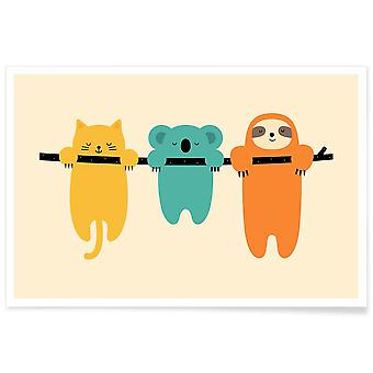 JUNIQE Print - Hang in There - Wildlife Poster in Colorful
