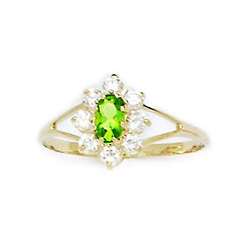 14k Yellow Gold Pale Green CZ Cubic Zirconia Simulated Diamond Size 5.5 Oval Flower for boys or girls Ring