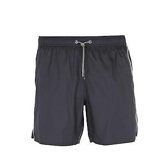 Emporio Armani Gold Taped Black Swim Shorts