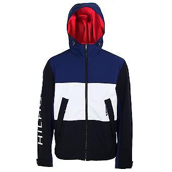 Tommy hilfiger men's blue ink flex colour block blouson jacket