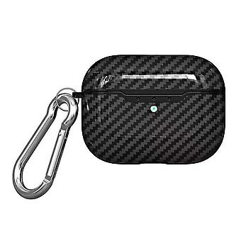 For AirPods Pro Case, Carbon Fibre Texture Protective TPU Box with Hook, Black