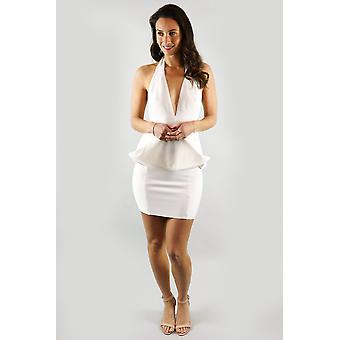 Bianca peplum halter white cocktail dress