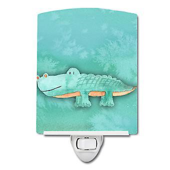 Carolines Treasures  BB7385CNL Alligator Watercolor Ceramic Night Light